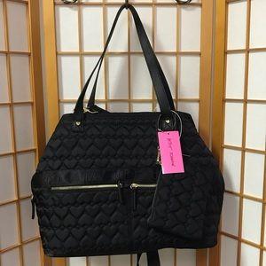 Betsy Johnson 3 Compartment Tote Black Nylon